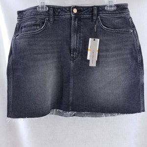 Calvin Klein Jean Skirt Sz W33 Distressed Cutoff